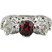True Crimson: Filigree Fine Ruby and Mine Cut Diamond Ring