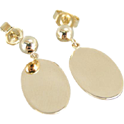 Simple, Sophisticated 14K Gold Oval Drop Earrings