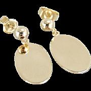 Simple, Sophisticated 14K Gold Oval Drop Earrings