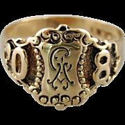 "Beautifully Ornate 1908 Antique Signet Ring, Antique Signet Ring with Original ""CA"" Engraving"