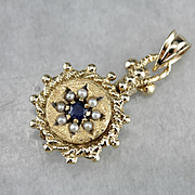 Upcycled Sapphire and Cultured Seed Pearl Pendant