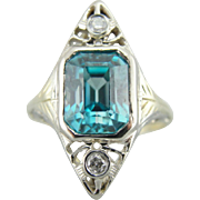 Stunning Blue Zircon, Upcycled Ladies Ring