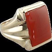 Blood Orange Carnelian, Statement Men's or Ladies Cocktail Ring