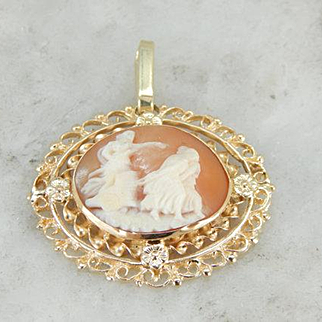 Chariot of the Gods, Carved Cameo Pendant in Ornate Frame