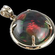 Rare Black Opal Cabochon Pendant