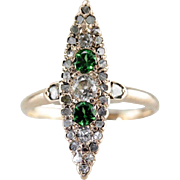Demantoid Garnet and Diamond Navette Ring