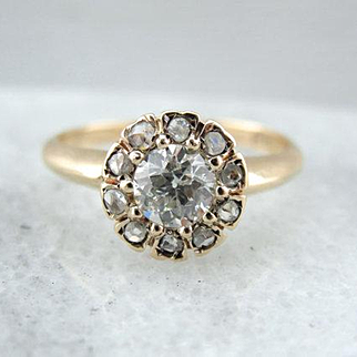 Rose Cut and Old Mine Diamond Halo Ring from the Victorian Era, Early 1900's or Earlier