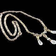 Art Deco Moonstone Necklace, Stunning Gold Geometric Motif