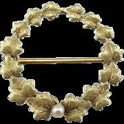 Art Nouveau Oak Leaf and Seed Pearl Circle Wreath Brooch