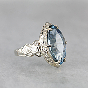 Rare Deep Aquamarine Cocktail Ring