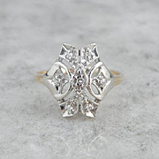 Mid-Century Two Tone Diamond Dinner Ring