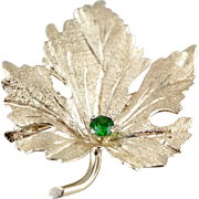 14 Karat Gold Leaf Brooch with Demantoid Garnet Center