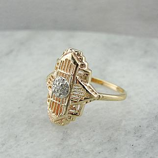 Fantastic Art Deco Diamond Filigree Dinner Ring in 10K Yellow Gold