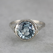 Fantastic Aquamarine Filigree Ring, White 14 Karat Gold Cocktail Ring