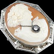 Vintage Diamond Cameo Brooch or Pendant