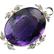 Rare Stunning Large Amethyst Pendant with Seed Pearl Accents