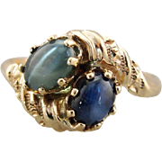 Chrysoberyl and Star Sapphire Ring, Toi et Moi Ring, Two Stone Bypass Ring