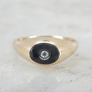 Retro Era Black Onyx and Diamond Ring for Her