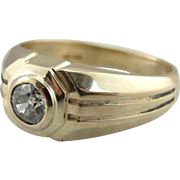 Structural Men's Diamond Statement Ring with Mine Cut Diamond