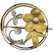 Lovely Antique Diamond and Seed Pearl Floral Brooch