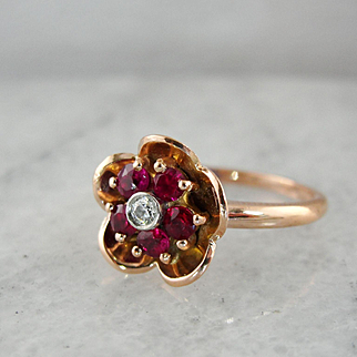 Charming Ruby Diamond Floral Rose 14K Gold Ring