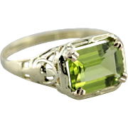 East to West Set Peridot Filigree Ring