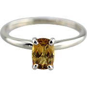 Yellow Sapphire Solitaire Engagement Ring in 14K White Gold & Platinum
