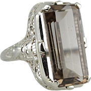 Smoky Quartz Cocktail Ring, Emerald Cut in a Filigree Mounting
