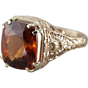 Ornate Filigree Hessonite Garnet Cocktail Ring
