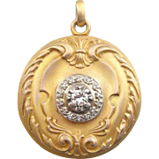 Art Nouveau 14K Gold Locket with Art Deco Diamond Center, One of a Kind