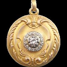 14K Ornate Gold Locket with Diamond Center, Brushed Finish