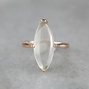 Moonstone Ring, Moonstone and Rose 14 Karat Gold, Marquise Gemstone