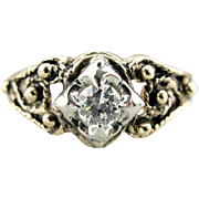 Vintage Filigree, 14K Yellow Gold Ring with Fine 14K White Gold Center, Glittering Diamond