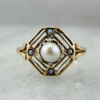Dreamy Filigree Seed Pearl and Rose 10K Gold Dinner Ring