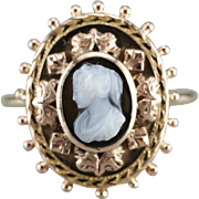 Black Onyx Cameo Cocktail Ring