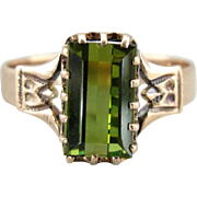Ladies Victorian Era, Green Tourmaline Dinner Ring, Gorgeous Style