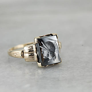 Petite Retro Era Hematite Intaglio Ladies Ring