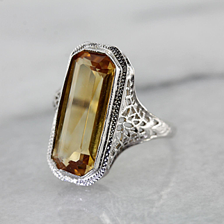 1920's Art Deco Era Filigree Citrine Ring