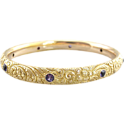 14K Solid Gold Bangle with Amethysts, Chased Flower Motif, Exceptional Quality
