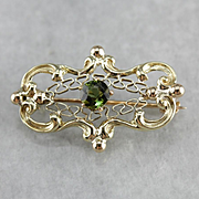 Pretty Green Tourmaline Brooch or Pendant