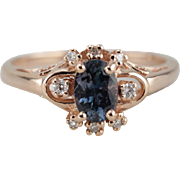 Sybil in Atlantic Blue: 14K Rose Gold Sapphire Halo Ring From The Elizabeth Henry Collection