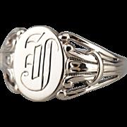 """Men's Monogramed """"J"""" Initial Signet Ring"""