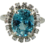 Bright Blue Zircon Cocktail Ring, Blue Zircon and Diamond Halo, Halo Cocktail Ring