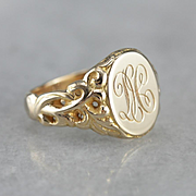"Antique Monogramed ""DH"" Signet Ring"