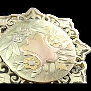 Stunning Tri Color 14K Gold Pendant, Art Nouveau Pocket Watch Cover with Filigree Frame
