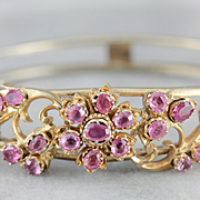 Vintage Gold Gilt Sri Lanka Bangle Bracelet with Glass Ruby Accents, Floral Gold Toned Bangle