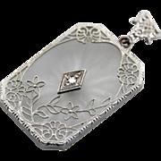Art Deco Era Camphor Glass Pendant with Diamond Detail