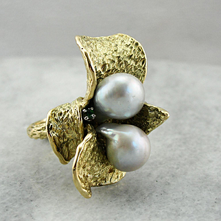 Show Stopping Freshwater Natural Pearl Floral Statement Ring, 18K Gold