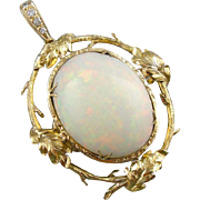 Collectors Quality Large Ethiopian Opal and Diamond Statement Pendant