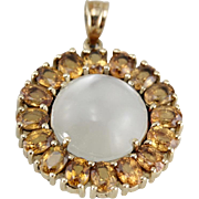 The Golden Moon: Moonstone and Hessonite Garnet Halo Pendant